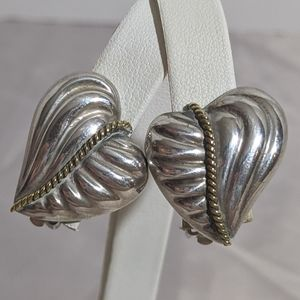 Vintage 80's Taxco Sterling Silver Heart Earrings